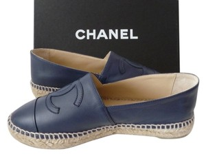 Chanel Espadrilles Leather BLUE Flats
