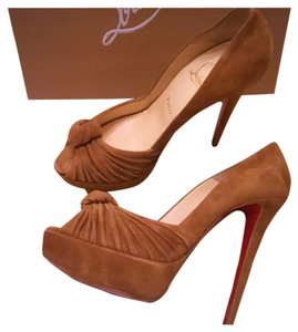 Christian Louboutin Suede Gressimo Platform 140 Brown Pumps