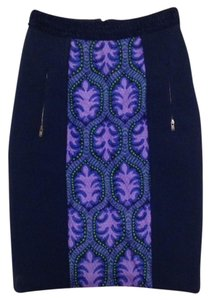 Tracy Reese Pencil Neoprene Combo Skirt Violet Medallion