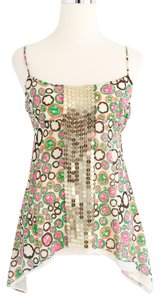 BCBGMAXAZRIA Bright Print Sequin Silk Top