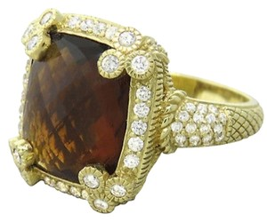 Judith Ripka Judith Ripka 18K Gold Diamond Smokey Topaz Ring
