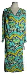 Green Multi Maxi Dress by Natori Ruched Crossover Long Sleeve