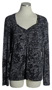 Chico's Long Sleeve Damask Print Top Black