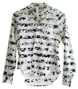Kenzo Button Down Shirt White, green and black
