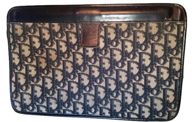Item - Navy Blue and Gray Canvas Clutch