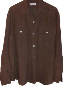 Dolce&Gabbana Linen Made In Italy Large Military Pockets Over Sized Buttons Over Sized Relax Fit Button Down Shirt Brown