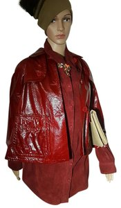 Theory Designer Leather Patent Leather Trenchcoats cranberry Leather Jacket