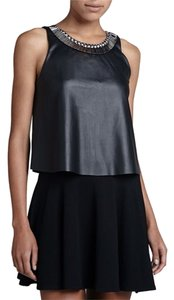 Eight Sixty Embellished Faux Leather Metallic Hardware Top Black