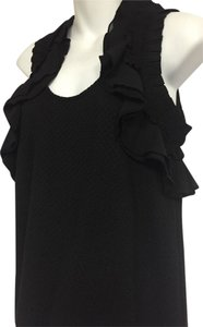 Deletta Ruffled Sleeveless Solid Floral Pattern Top Black