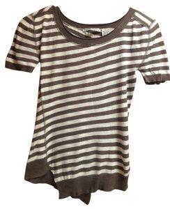 Autumn Cashmere Soft T Shirt grey and white stripe