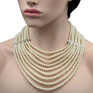 Crystal String White Glass Pearl Multi Layered Strand Bead Chunky Necklace Crystal String