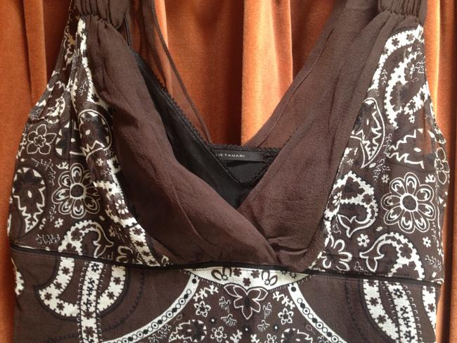 Elie Tahari Boho Silk Top dark brown print