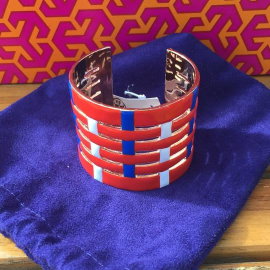 Tory Burch NEW TORY BURCH MULTI COLOR RED CUFF GOLD BRACELET Image 1