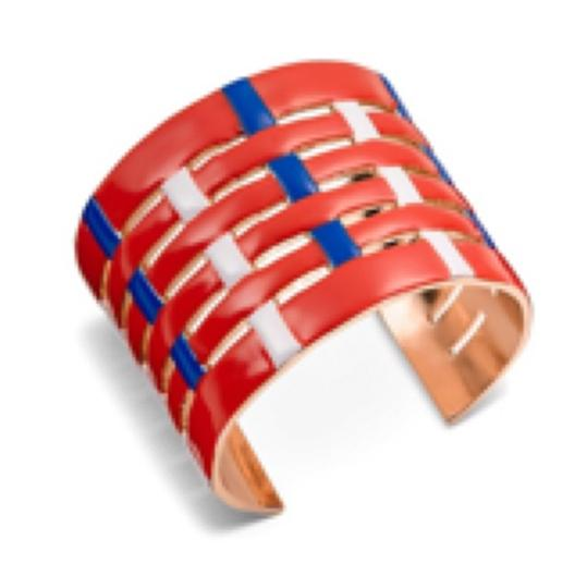 Tory Burch NEW TORY BURCH MULTI COLOR RED CUFF GOLD BRACELET Image 2