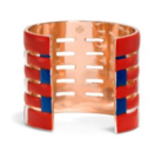 Tory Burch NEW TORY BURCH MULTI COLOR RED CUFF GOLD BRACELET Image 3