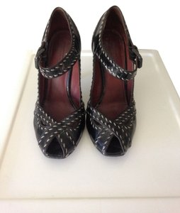 Bottega Veneta Peeptoe Mary Janes Leather Patent Leather Made In Italy Luxury 37.5 Black Patent Pumps