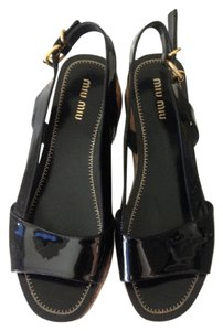 Miu Miu Made In Italy Black Patent Platforms