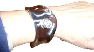 Other STERLING SILVER MODERN CUFF WITH LARGE CUBIC ZIRCONIA STONE