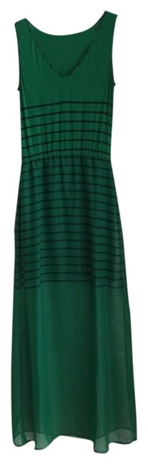 Item - Green and Navy Blue Striped Stripes Sheath Liner V Neck Long Casual Maxi Dress Size 6 (S)