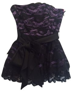 Betsey Johnson Strapless Lace Tiered Top Purple