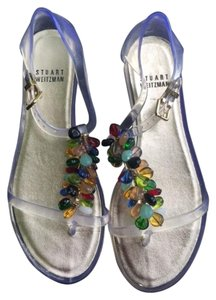 New Stuart Weitzman Jelly Flip Flops Designer Clear, Red, Blue, Gold, Green, dark blue Sandals