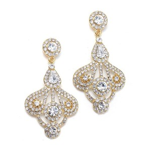 Mariell Gold Art Deco Fan Gatsby Style Earrings