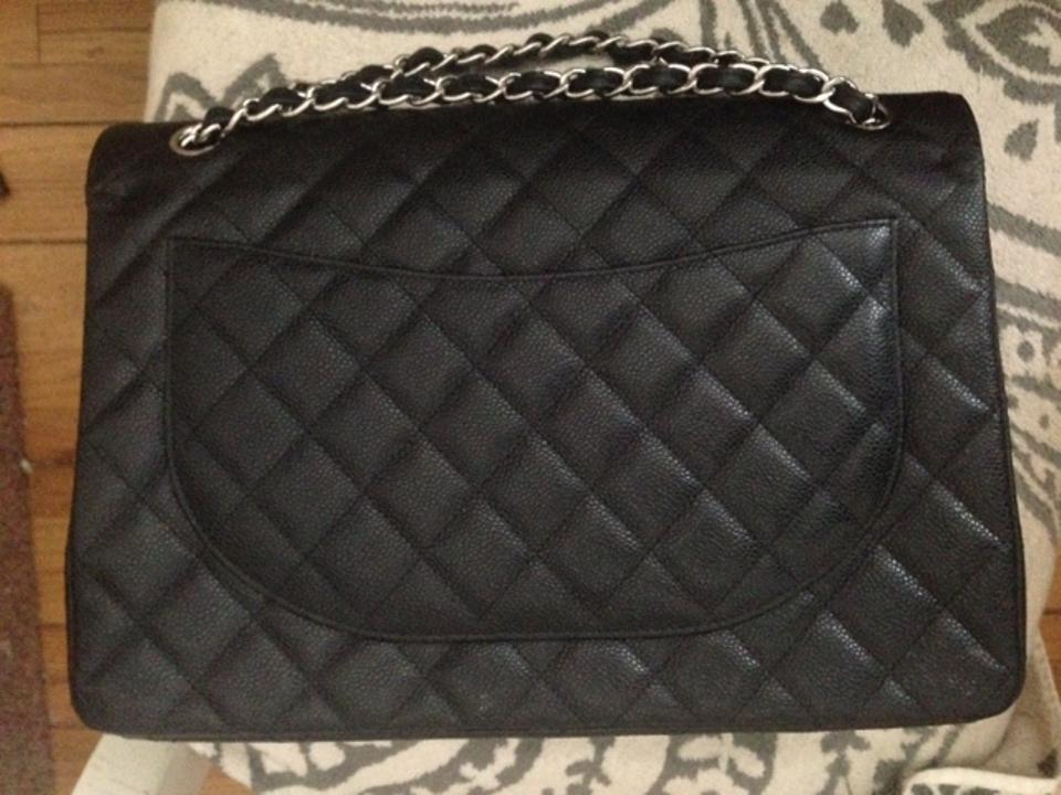 b6ca7bf76587 Chanel Double Flap Maxi Caviar Almost New 2013 Sold Out Lowest Price Black  Leather Shoulder Bag - Tradesy