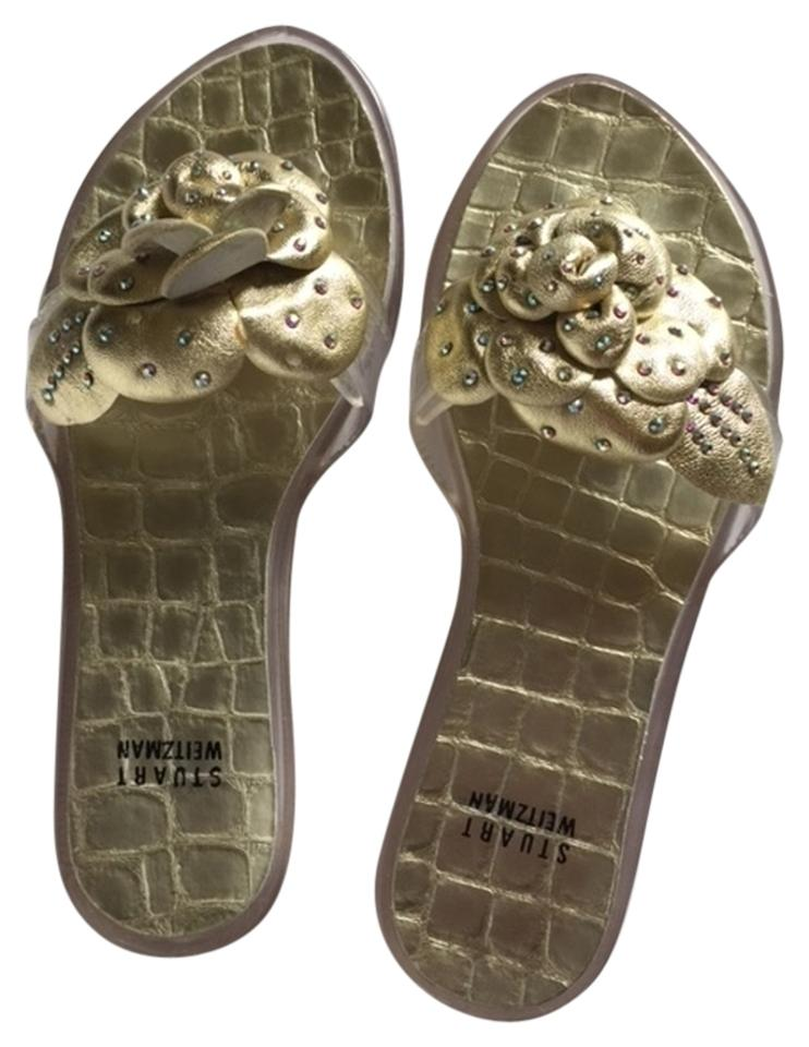 dbca1510a1d99c Gold and Clear Never Been Worn Rhinestones Designer Sandals Size US ...