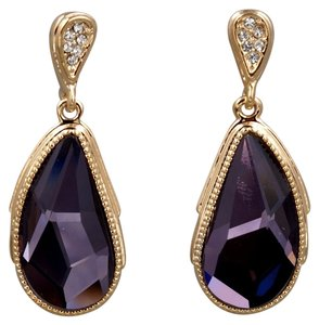 Irises land 18K Gold Plated GP Purple Swarovski Crystal Rhinestone Drop Dangle Earrings