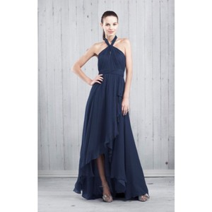 202c0767fe2 Jenny Yoo Navy Chiffon Floor Length Formal Bridesmaid Mob Dress Size 4 (S)