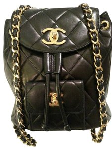 Chanel Quilted Purse Shoulder Cc Logo Turnlock Gold Backpack 00ba8cfb15902