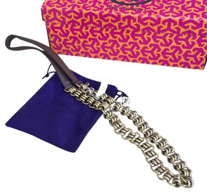 Tory Burch NWT TORY BURCH ABELLA LEATHER AND CHAIN GOLD NECKLACE AUTHENTIC