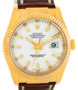Rolex Rolex Datejust 18k Yellow Gold Leather Strap Mens Watch 116138