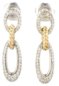 David Yurman David Yurman Sterling Silver 18K Gold 1.00tcw Long Pave Diamond Oval Link Drop Earrings