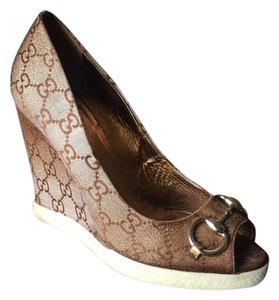 Gucci Monogram Leather brown gold Wedges