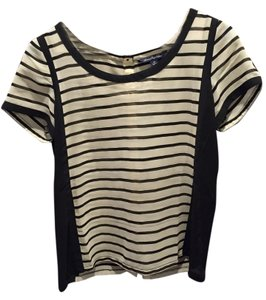 American Eagle Outfitters Sheer Split-back Casual Top Black & White Striped
