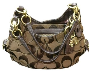 Coach Signature Satin Satchel in Chocolate brown