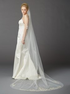 Mariell Ivory Cathedral Length Wedding Veil With Beaded Silver Lace