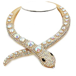 AB Crystal Rhinestone Accent Gold Tone Serpent Snake Python Collar Necklace
