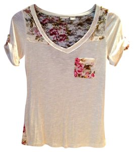 Daytrip Lace Trim Lace Sheer T Shirt Floral