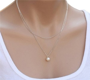 New Layering Silver Chain Double Pearl Pendant Necklace Women Layered Fashion Jewelry