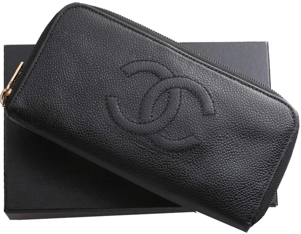 d219fcacd186 Chanel Authentic CHANEL Caviar Skin Genuine Leather Zip-Around Long Wallet  ...