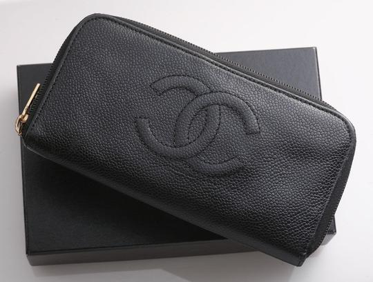 Chanel Authentic CHANEL Caviar Skin Genuine Leather Zip-Around Long Wallet Image 1