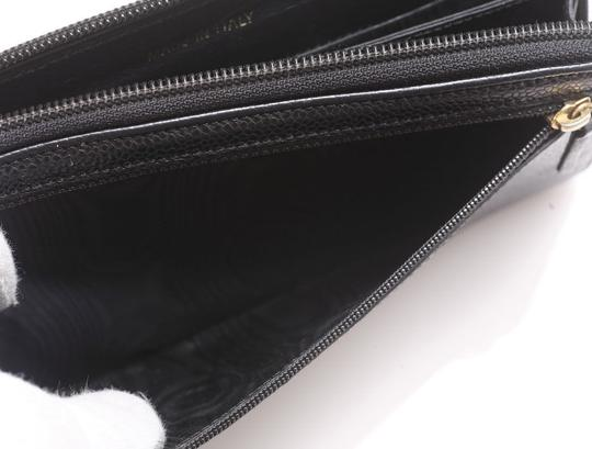 Chanel Authentic CHANEL Caviar Skin Genuine Leather Zip-Around Long Wallet Image 4