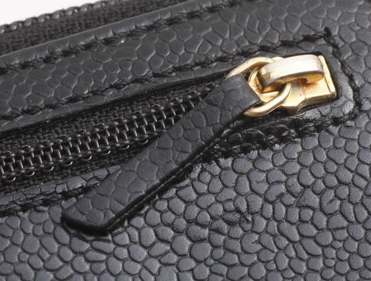Chanel Authentic CHANEL Caviar Skin Genuine Leather Zip-Around Long Wallet Image 8