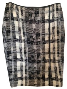 Lafayette 148 New York Stylish Sophisticated Tweed Leather Trim At Waist Skirt black/ivory