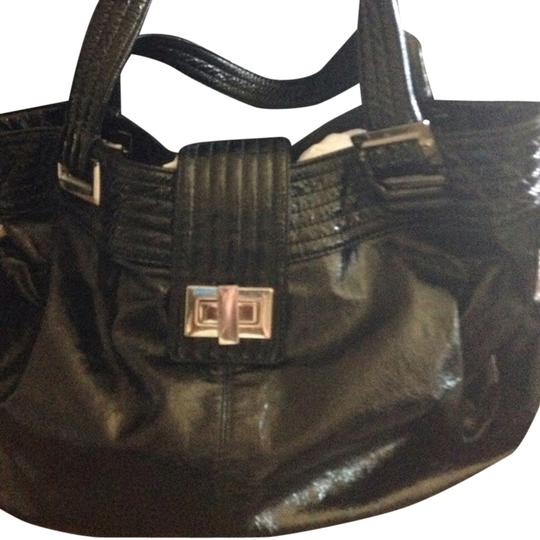 Kooba Patent Leather Silver Hardware Adjustable Krinkled Shoulder Bag