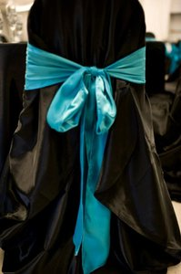 Blue Teal Chair Sashes Reception Decoration