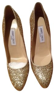 Jimmy Choo Gold Glitter Pumps