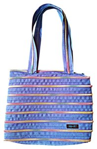 zip..it Pink Horizontal Lines Yellow Shoulder Bag